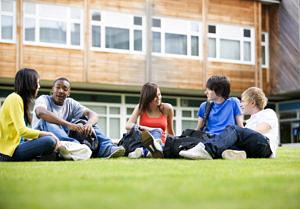 Studierende sitzen auf dem Rasen und unterhalten sich